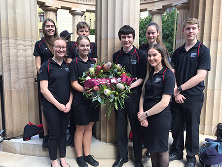Student service - Anzac Square - group photo